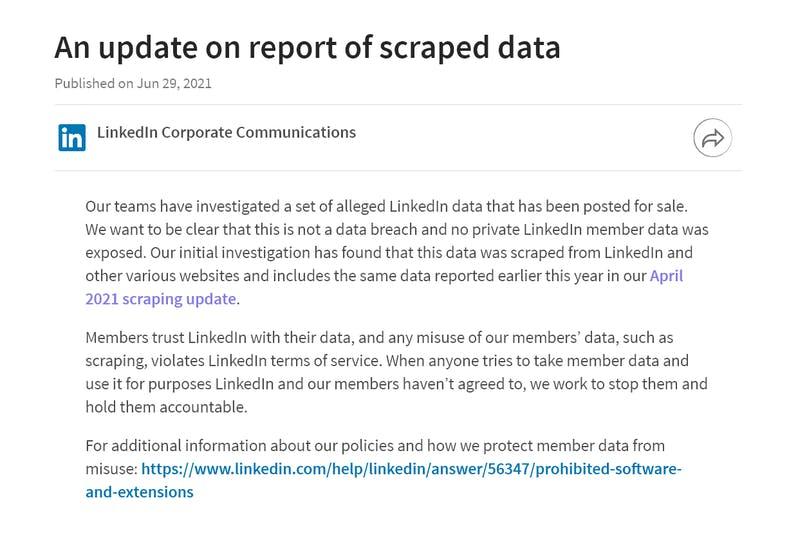 Il comunicato di Linkedin riguardante la situazione attuale