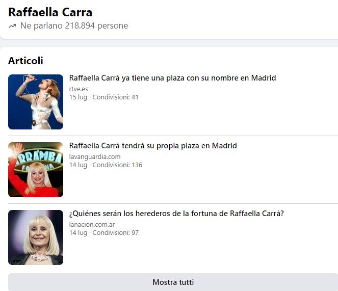 Raffaella Carrà: le notizie si trasformano in tormentoni molto velocemente